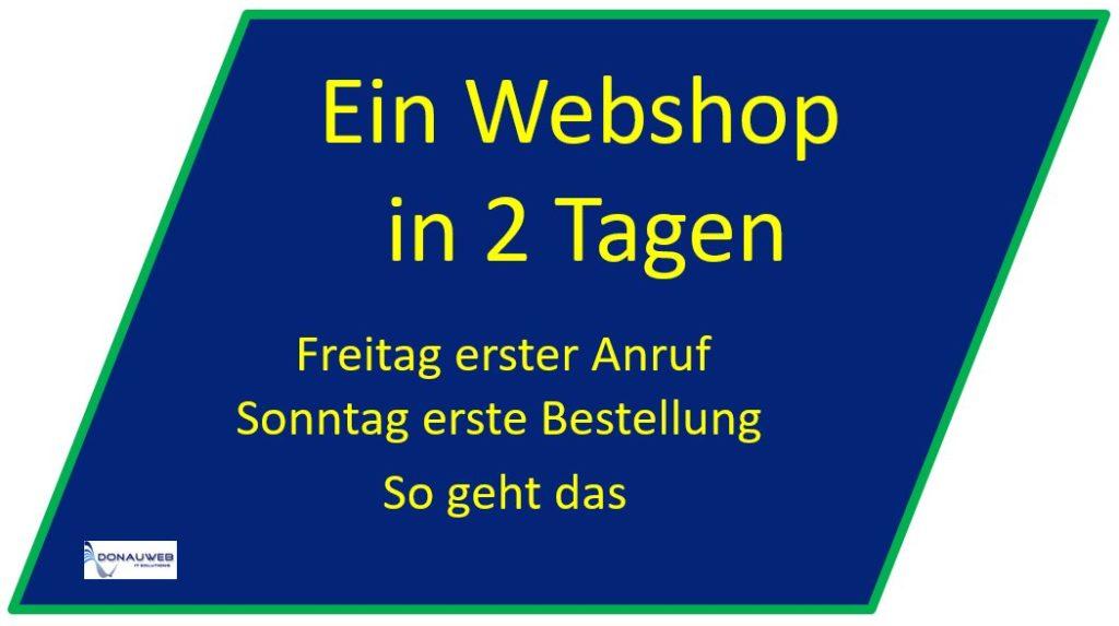 Webshop in 2 Tagen